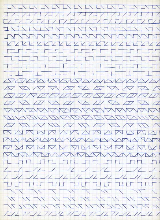 Claude Closky, 'Untitled (1,500 friezes), 22', 1992, blue ballpoint pen on grid paper, 30 x 24 cm.