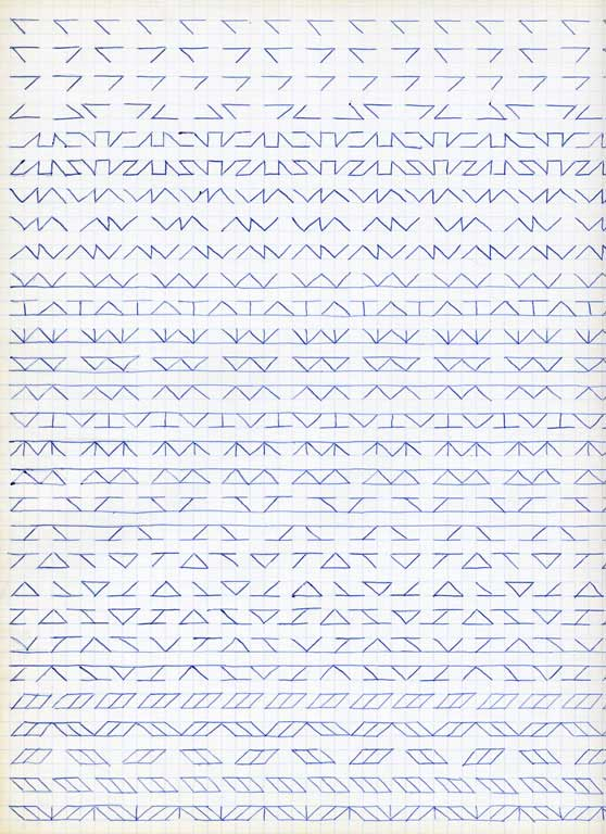 Claude Closky, 'Untitled (1,500 friezes), 25', 1992, blue ballpoint pen on grid paper, 30 x 24 cm.