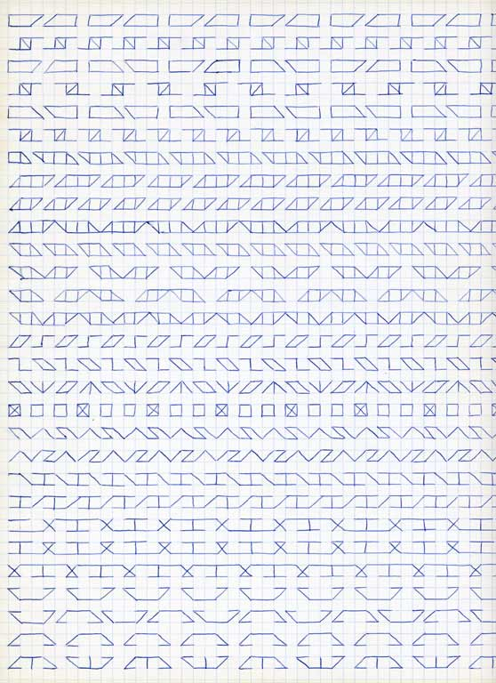 Claude Closky, 'Untitled (1,500 friezes), 29', 1992, blue ballpoint pen on grid paper, 30 x 24 cm.