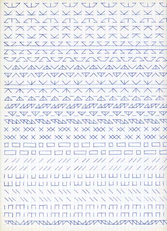 Claude Closky, 'Untitled (1,500 friezes), 30', 1992, blue ballpoint pen on grid paper, 30 x 24 cm.