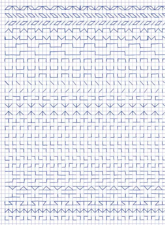 Claude Closky, 'Untitled (1,500 friezes), 31', 1992, blue ballpoint pen on grid paper, 30 x 24 cm.