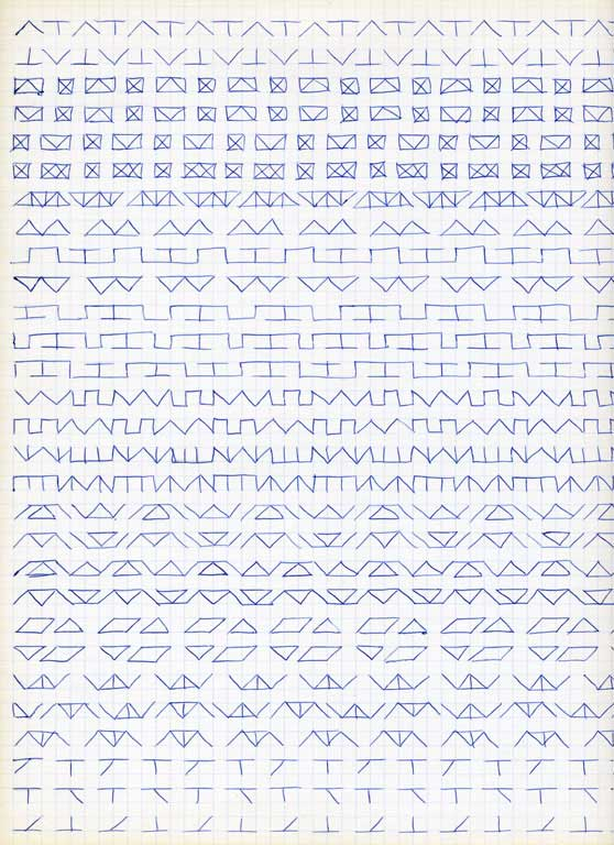 Claude Closky, 'Untitled (1,500 friezes), 32', 1992, blue ballpoint pen on grid paper, 30 x 24 cm.