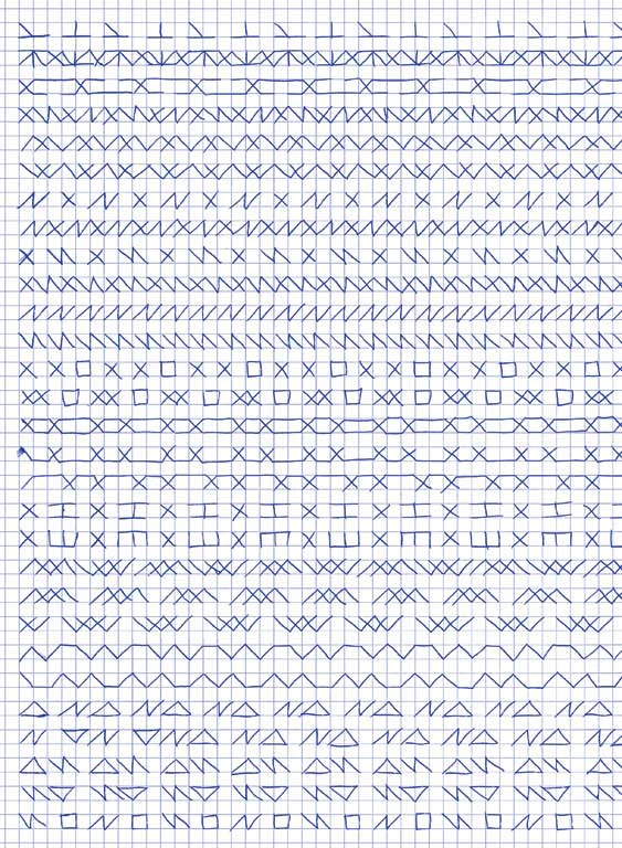 Claude Closky, 'Untitled (1,500 friezes), 33', 1992, blue ballpoint pen on grid paper, 30 x 24 cm.