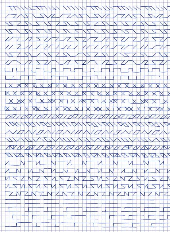 Claude Closky, 'Untitled (1,500 friezes), 36', 1992, blue ballpoint pen on grid paper, 30 x 24 cm.