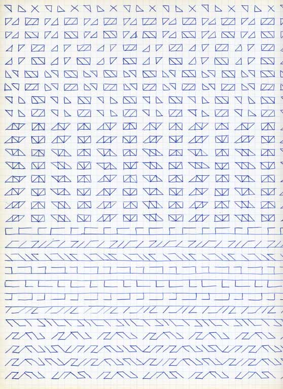Claude Closky, 'Untitled (1,500 friezes), 42', 1992, blue ballpoint pen on grid paper, 30 x 24 cm.