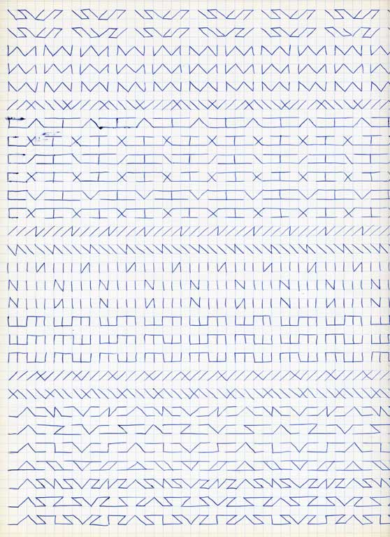 Claude Closky, 'Untitled (1,500 friezes), 43', 1992, blue ballpoint pen on grid paper, 30 x 24 cm.
