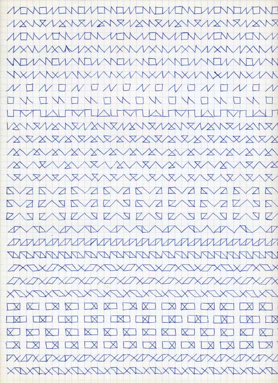 Claude Closky, 'Untitled (1,500 friezes), 46', 1992, blue ballpoint pen on grid paper, 30 x 24 cm.