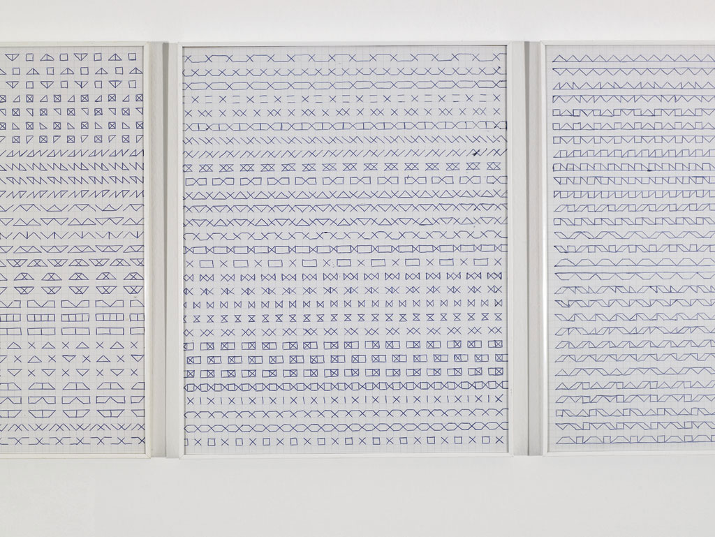Claude Closky, 'Untitled (1,500 friezes)', 1992, blue ballpoint pen on grid paper, 30 x 24 cm.