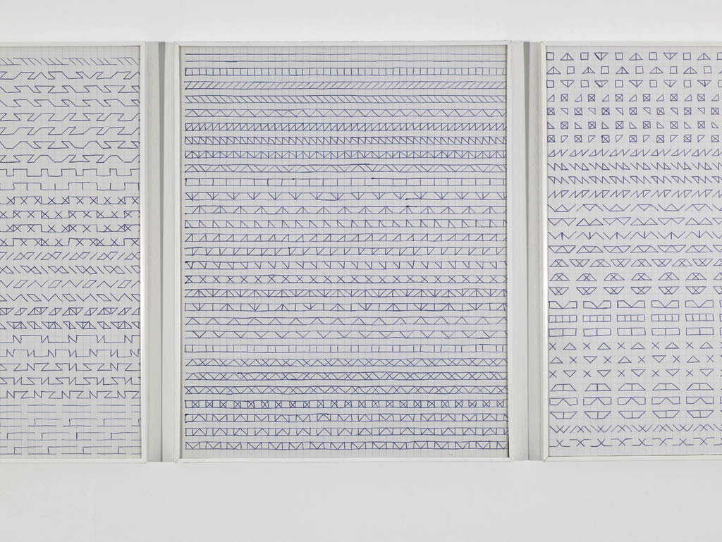 Claude Closky, 'Untitled (1, 500 friezes)', 1992, blue ballpoint pen on grid paper, 50 drawings, 30 x 24 cm each.