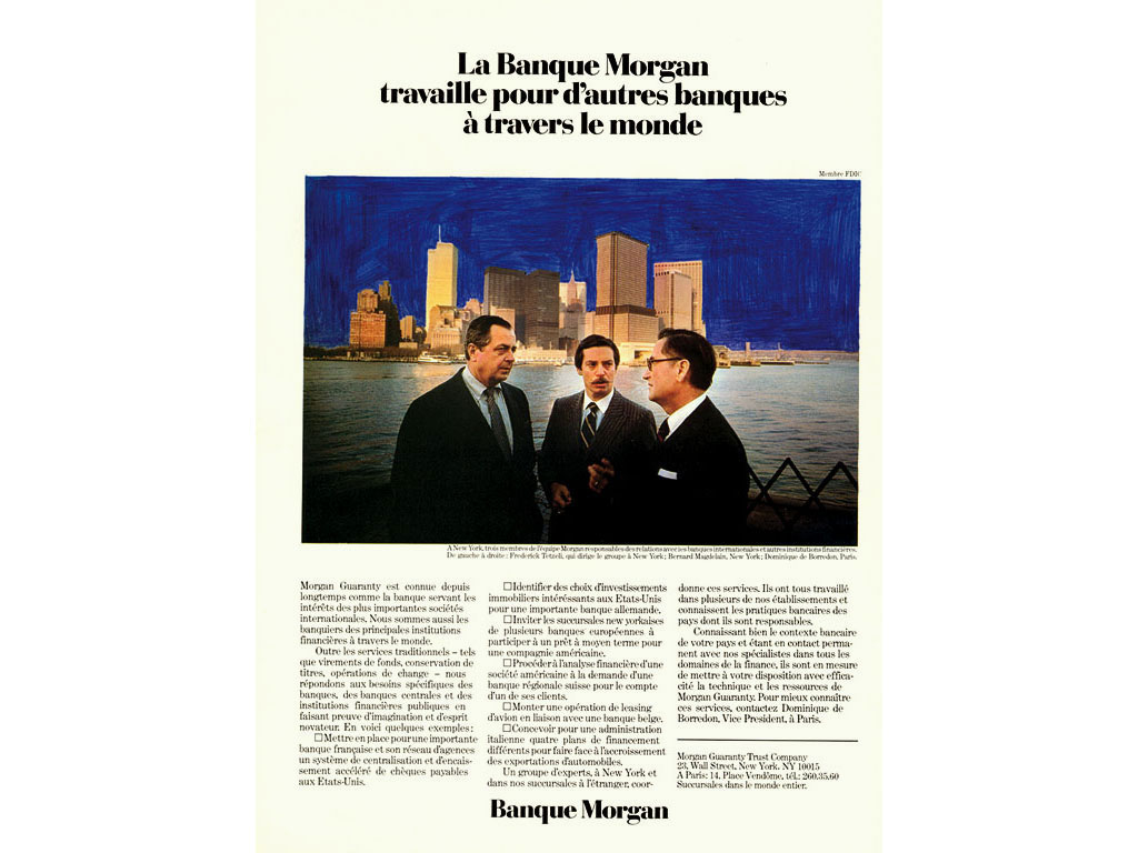Claude Closky, 'Untitled (Banque Morgan)', 1992, blue ballpoint on printed matter, 30 x 24 cm.