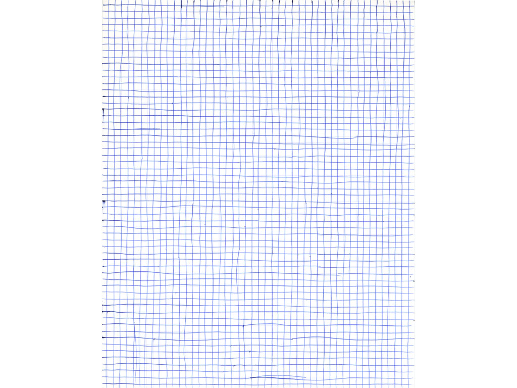 Claude Closky, 'Untitled (grid paper)', 1994, blue ballpoint pen on grid paper, 30 x 24 cm.