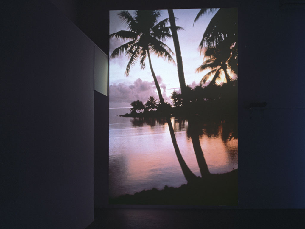 Claude Closky, 'Untitled (Maldive Islands)', 1999, slide projection, 500 x 266 cm, loop (6 seconds per slide). Exhibition view 'Ski', Mala Galleria, Moderna Galerija, Ljubljana, Slovénie. 21 April - 21 May 2000. Curated by Ami Barak