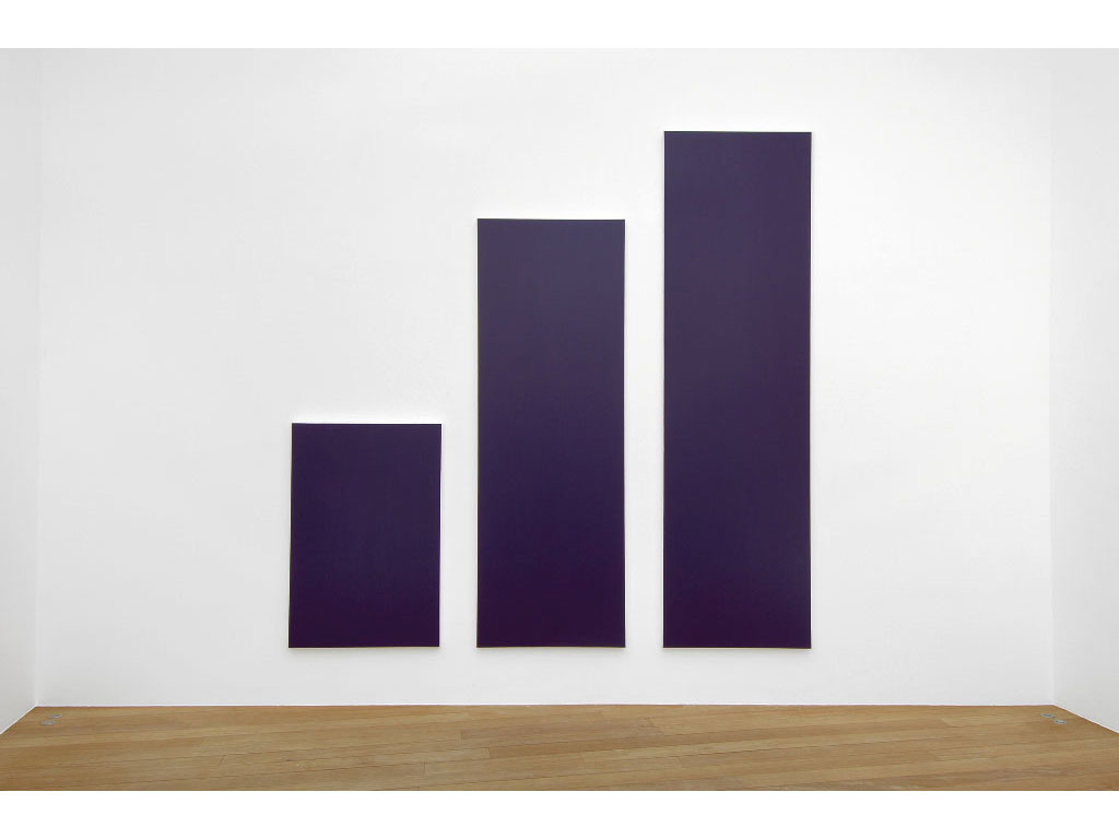 Claude Closky, 'Untitled (Purple 350)', 2006, acrylic on canvas, triptych, 350x350 cm (150x100 & 290x100 & 350x100).