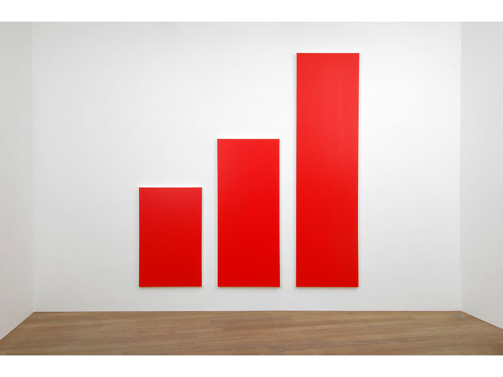 Claude Closky, 'Untitled (Red 380)', 2006, acrylic on canvas, triptych, 380x350 cm (160x100 & 240x100 & 380x100).