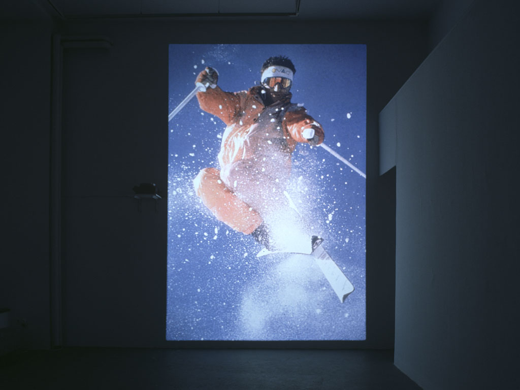 Claude Closky, 'Untitled (Ski)', 2000, slide projection, 500 x 266 cm, loop (2 seconds per slide). Exhibition view 'Ski', Mala Galleria, Moderna Galerija, Ljubljana, Slovénie. 21 April - 21 May 2000. Curated by Ami Barak