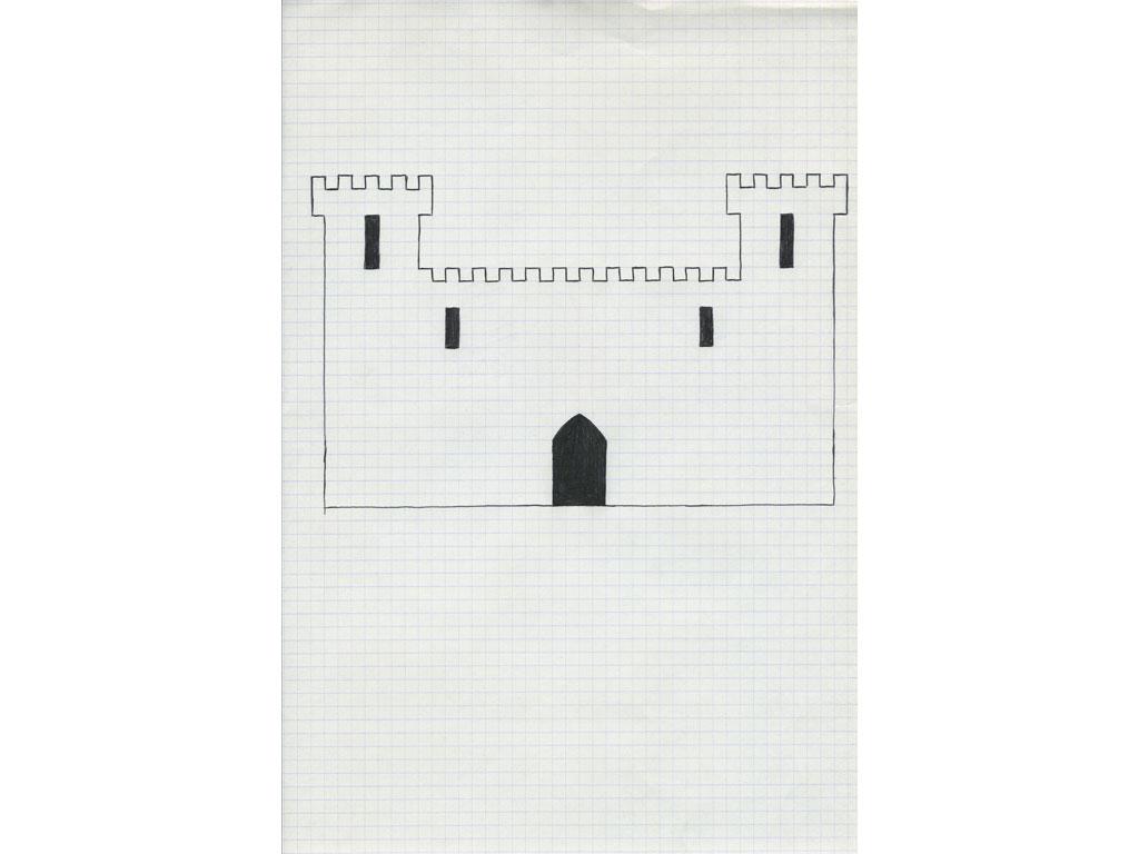 Claude Closky, 'Untitled (castle)', 1991, ballpoint pen on paper, 32 x 21 cm.