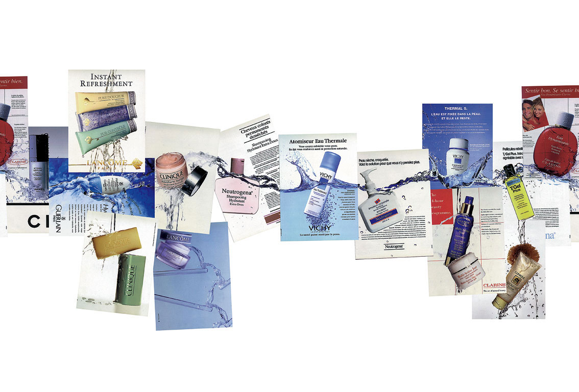 Claude Closky, 'Untitled (cosmetics) mock-up', 1997, collage, 83 x 160 cm.