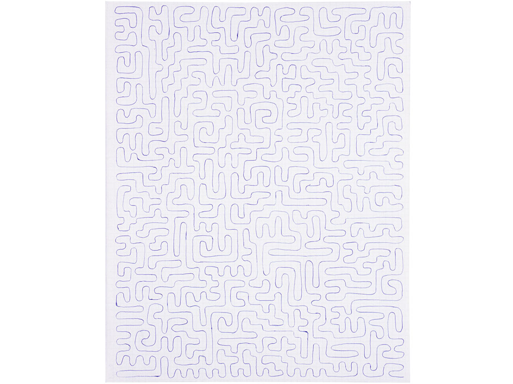 Claude Closky, 'Untitled (line going through each little square)', 1992, blue ballpoint pen on grid paper, 30 x 24 cm.