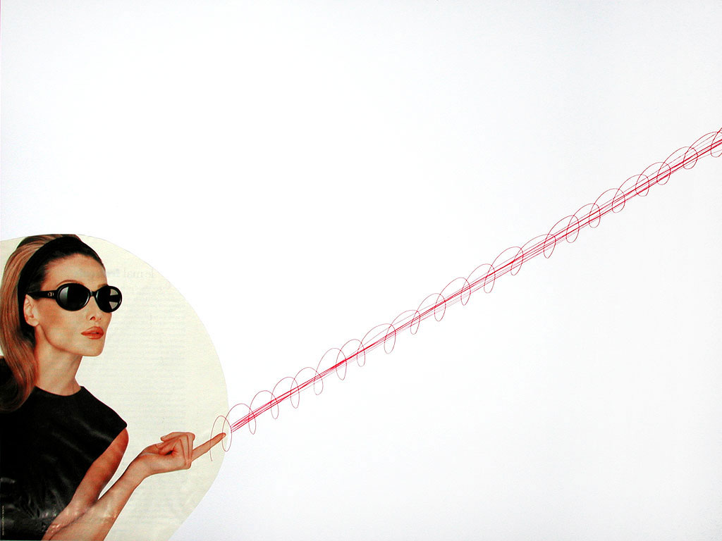 Claude Closky, 'Untitled (red beam)', 1996, red ballpoint and collage pen on paper, 51 x 70 cm.