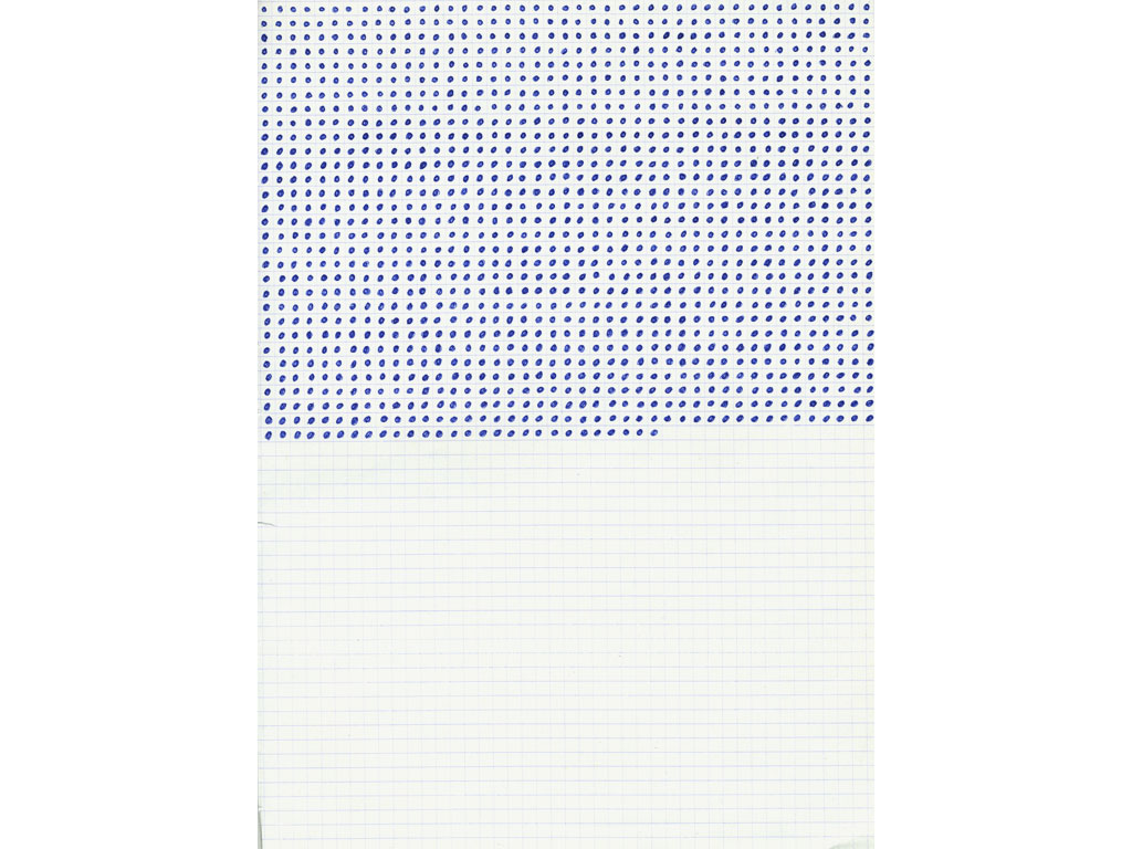 Claude Closky, 'Untitled (small dots in small squares)', 1991, blue ballpoint pen on grid paper, 30 x 24 cm.