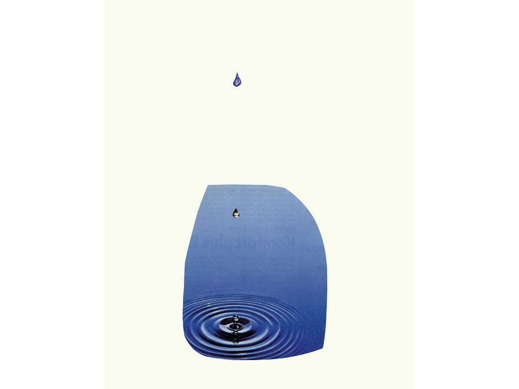Claude Closky, 'Untitled  (water drop)', 1996, blue ballpoint pen and collage on paper, 32 x 24 cm.