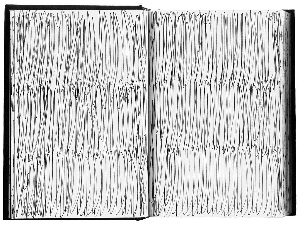 Claude Closky, 'Used Sketch book', 1990, ballpoint pen on sketch pad, 200 pages, 21,5 x 14,5 cm.