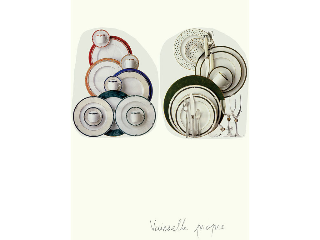 Claude Closky, 'Vaisselle propre [Clean Dishes]', 1996, collage and blue ballpoint pen on paper, 70 x 51 cm.