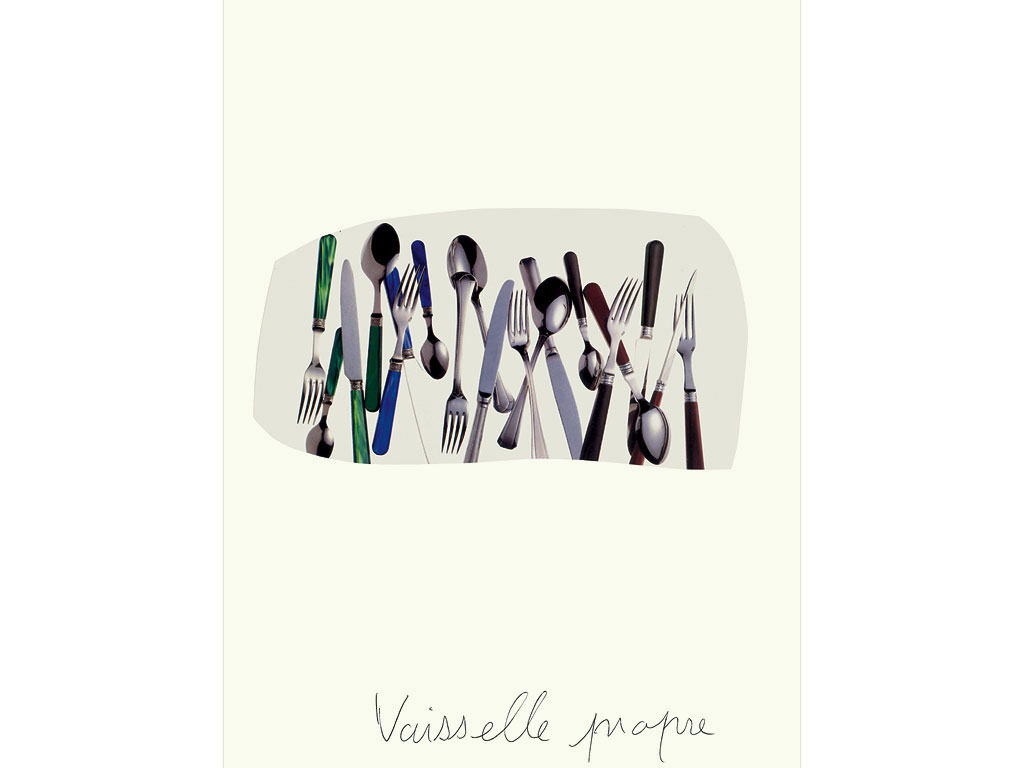 Claude Closky, 'Vaisselle propre [Clean Dishes] 2', 1996, collage and black ballpoint pen on paper, 32 x 24 cm.