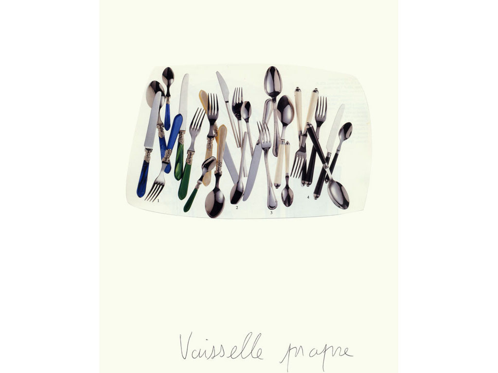 Claude Closky, 'Vaisselle propre [Clean Dishes] 3', 1996, collage and black ballpoint pen on paper, 32 x 24 cm.