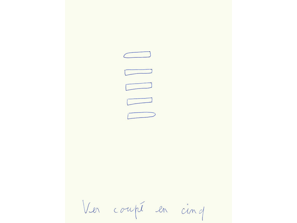 Claude Closky, 'Ver coupé en cinq [Worm cut in five]', 1996, blue ballpoint pen on paper, 30 x 24 cm.
