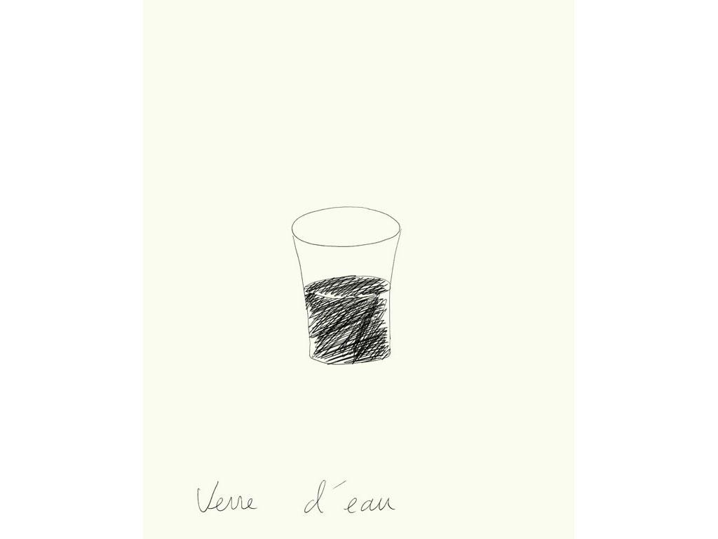 Claude Closky, 'Verre d'eau [Glass of water]', 1996, ballpoint pen on paper, 30 x 24 cm.