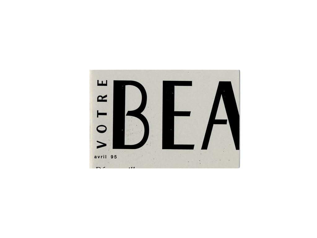 Claude Closky, 'Votre Beauté [Your Beauty]', 1995, artist's publication, b&w photocopy, 24 pages, 9,5 x 14,5 cm.