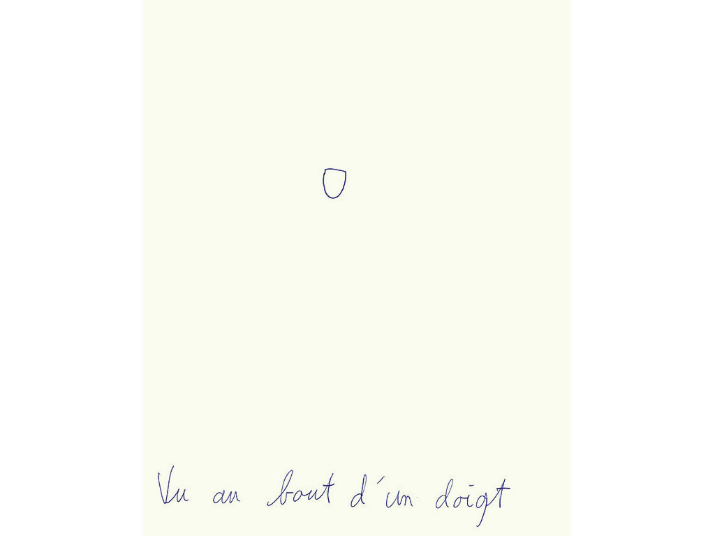 Claude Closky, 'Vu au bout d'un doigt [Seen at the end of a finger]', 1994, ballpoint pen on paper, 30 x 24 cm.