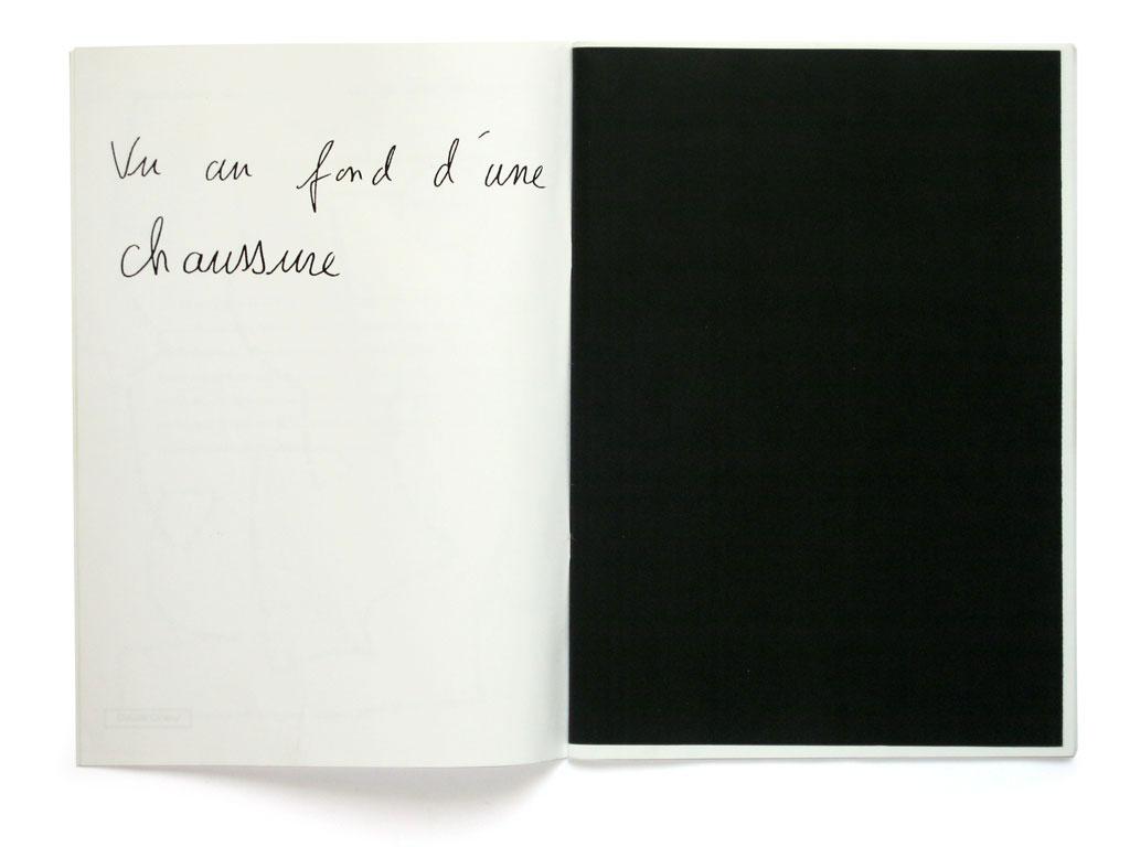 Claude Closky, 'Vu au fond d'une chaussure [Seen in a shoe]', 1995, Arles: L'Ouvre boîte n°1, pp. 4-5.