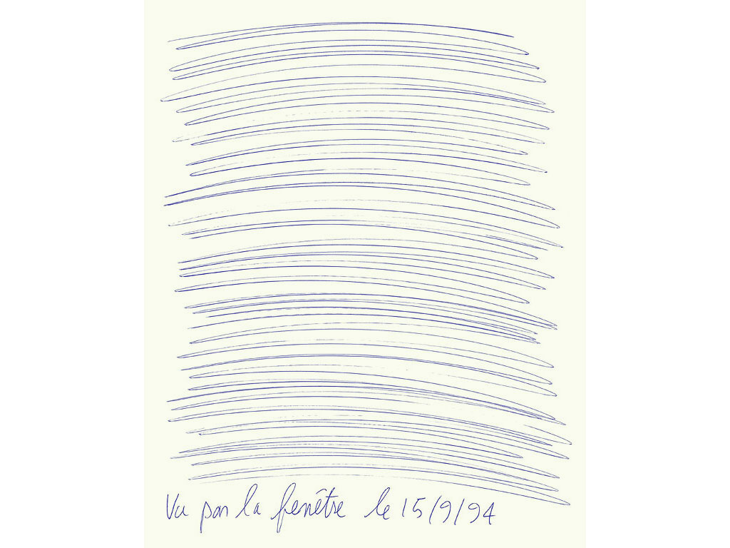 Claude Closky, 'Vu par la fenêtre le 15/9/94 [Seen through the window on 9/15/94]', 1994, blue ballpoint pen on paper, 30 x 24 cm.