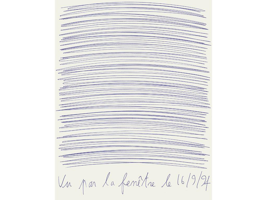 Claude Closky, 'Vu par la fenêtre le 16/9/94 [Seen through the window on  9/16/94]', 1994, blue ballpoint pen on paper, 30 x 24 cm.