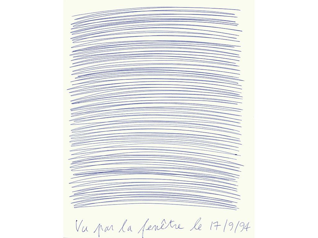 Claude Closky, 'Vu par la fenêtre le 17/9/94 [Seen through the window on  9/17/94]', 1994, blue ballpoint pen on paper, 30 x 24 cm.