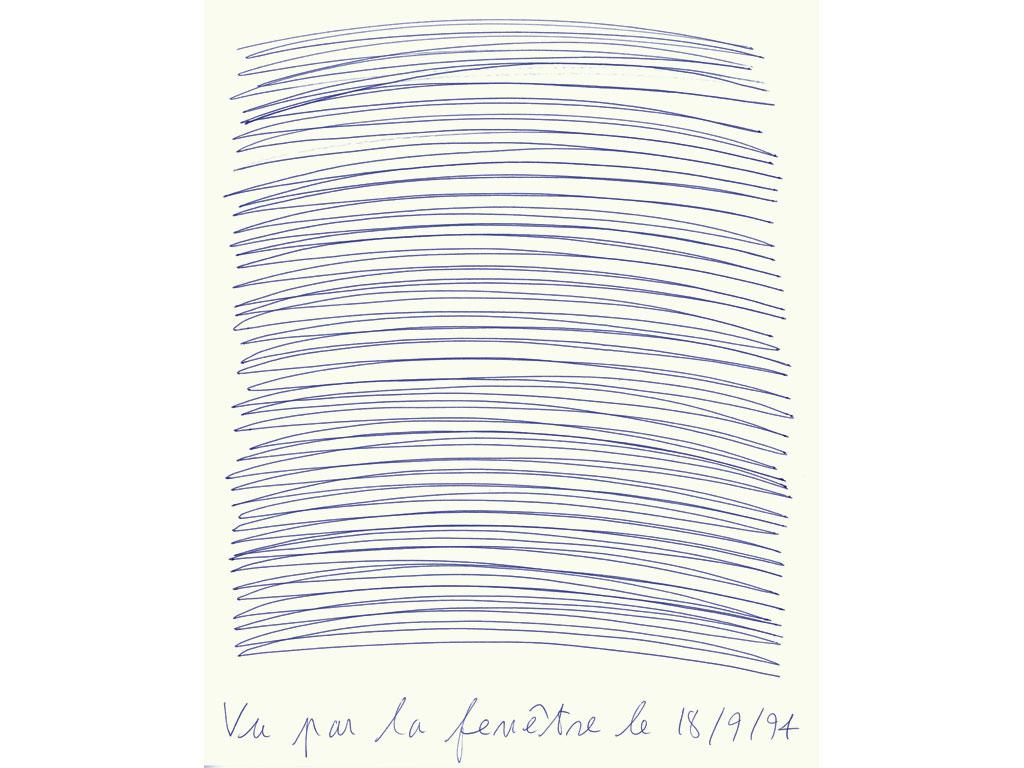 Claude Closky, 'Vu par la fenêtre le 18/9/94 [Seen through the window on  9/18/94]', 1994, blue ballpoint pen on paper, 30 x 24 cm.