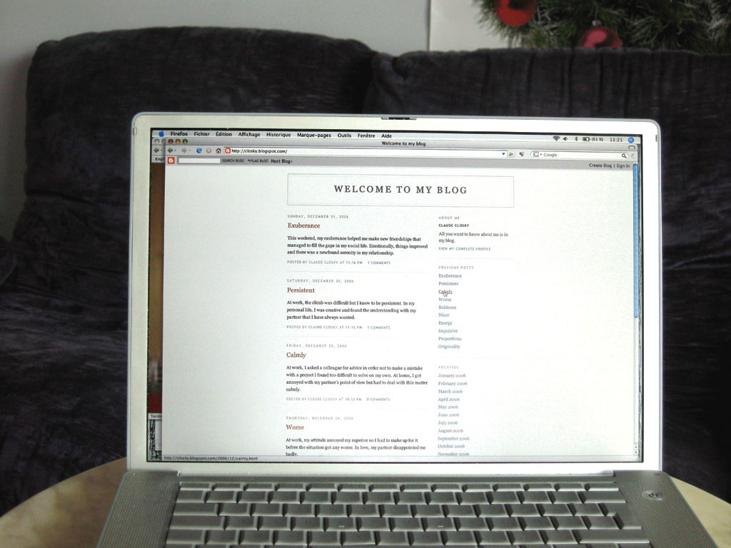 Claude Closky, 'Welcome to my blog', 2006, internet blog (http://closky.blogspot.com/).