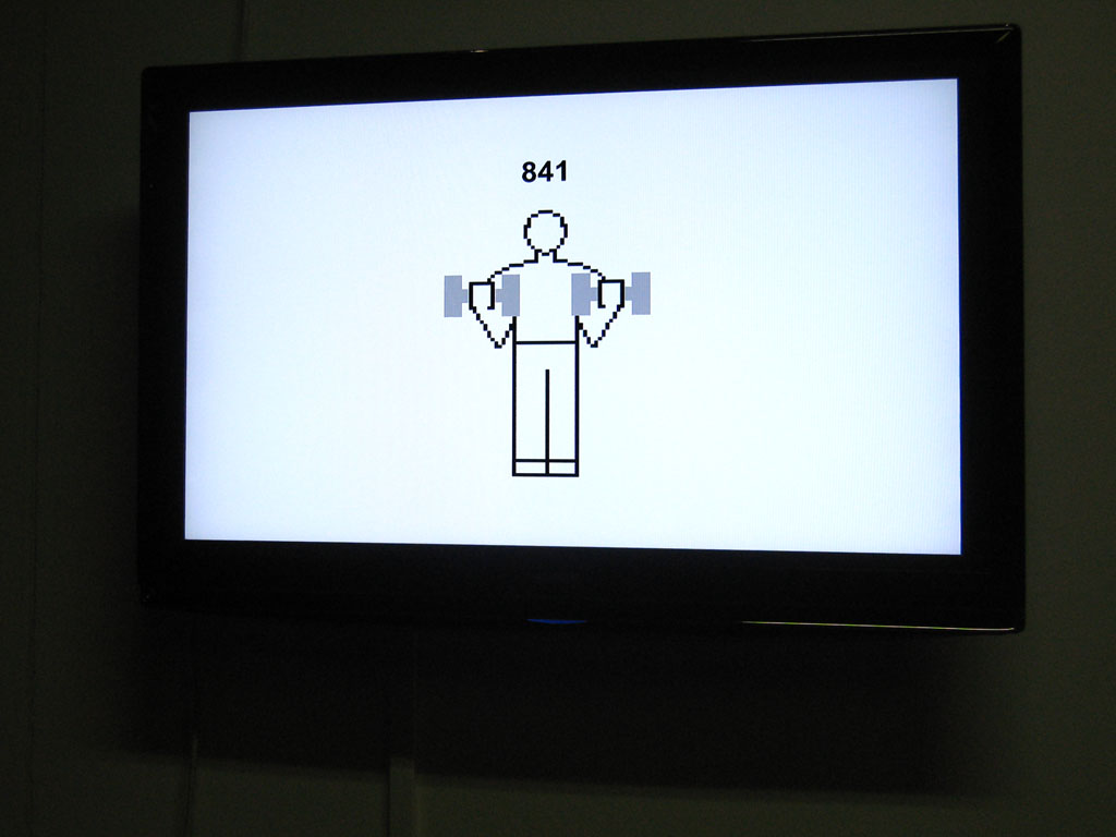 Claude Closky, 'Workout', 2004, flat screen, computer, unlimited duration. Installation view '+1', Ecole Supérieur d'Art du Havre (ESAH), Le Havre. 12 March - 15 April 2009. Curated by Jean-Noël, Lafargue