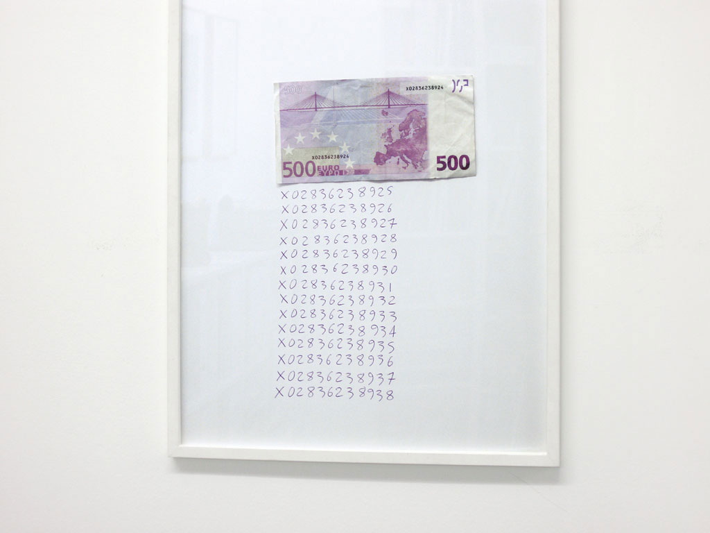 Claude Closky, 'X02836238924', 2006, banknote, purple ballpoint pen on paper, 40 x 30 cm.