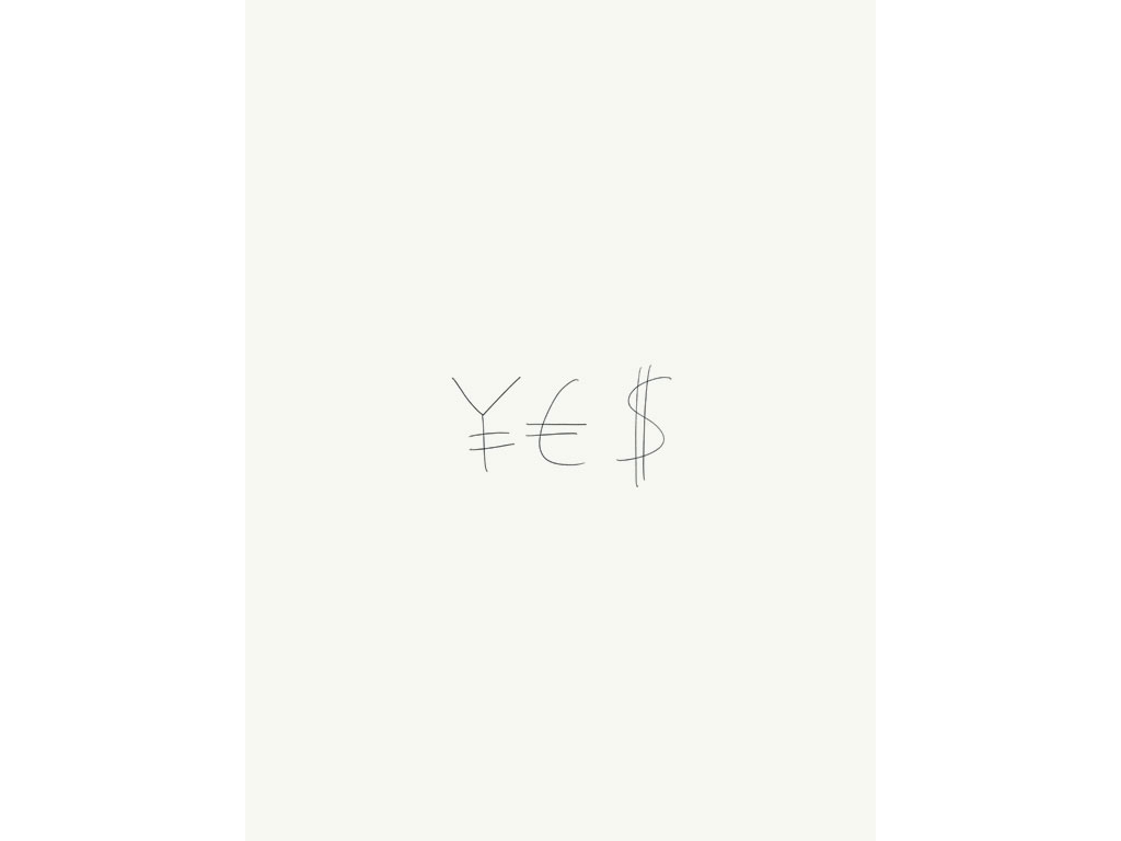 Claude Closky, 'Yes / No ', 2004, black ballpoint pen on paper, 2 drawings 40 x 30 cm.