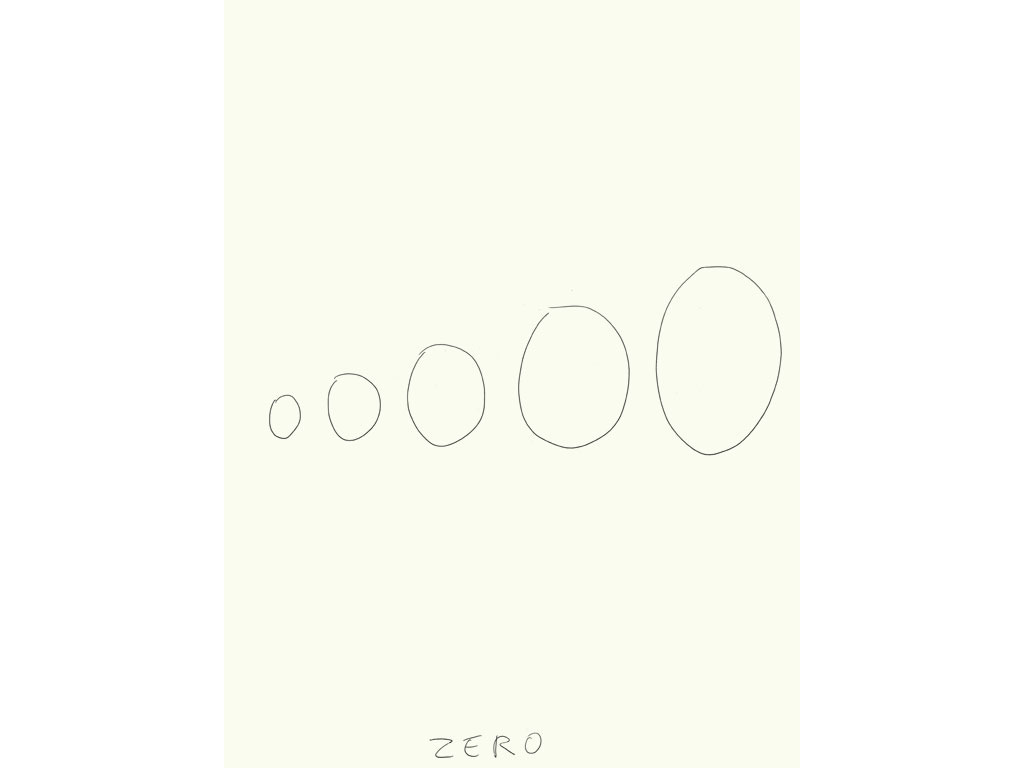 Claude Closky, 'Zero (1)', 2009, black ballpoint pen on paper, 40 x 30 cm.
