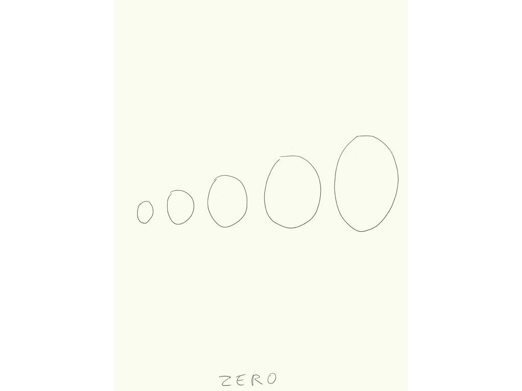 Claude Closky, 'Zero (1),' 2009, black ballpoint pen on paper, 40 x 30 cm.