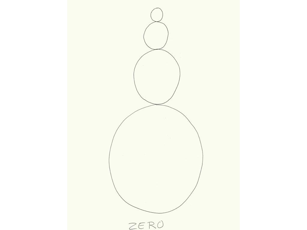 Claude Closky, 'Zero (3)', 2009, black ballpoint pen on paper, 40 x 30 cm.