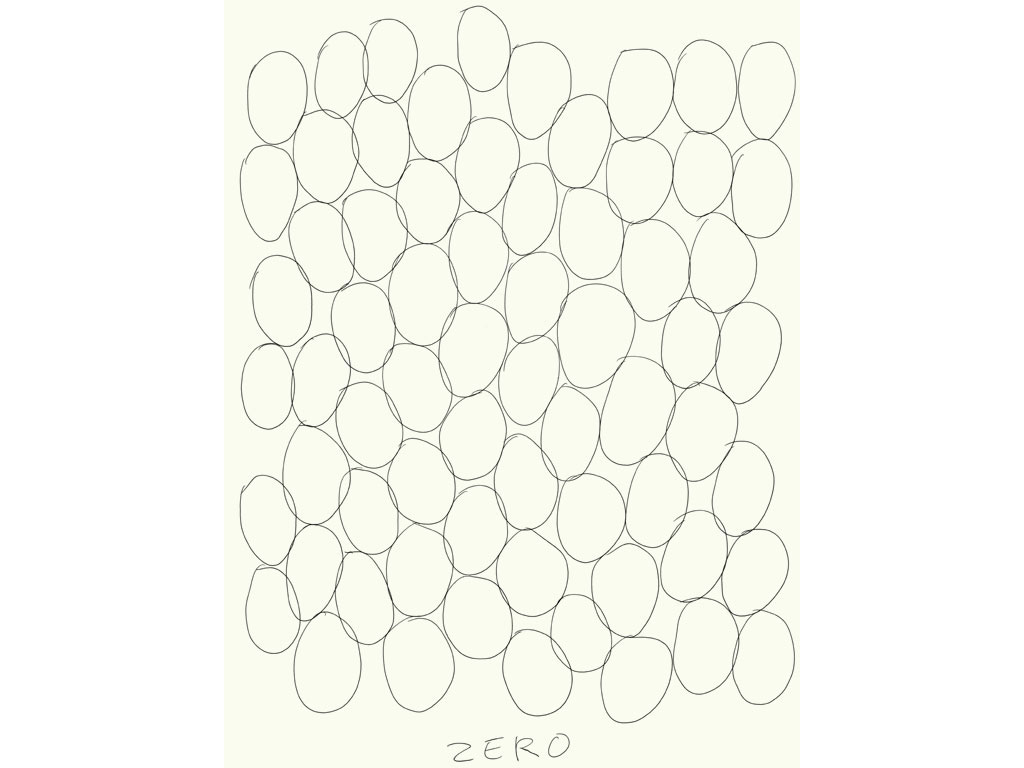 Claude Closky, 'Zero (4)', 2009, black ballpoint pen on paper, 40 x 30 cm.