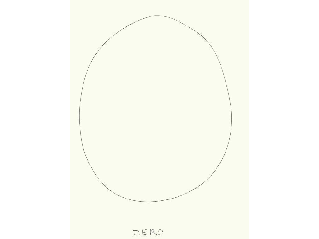 Claude Closky, 'Zero (5)', 2009, black ballpoint pen on paper, 40 x 30 cm.