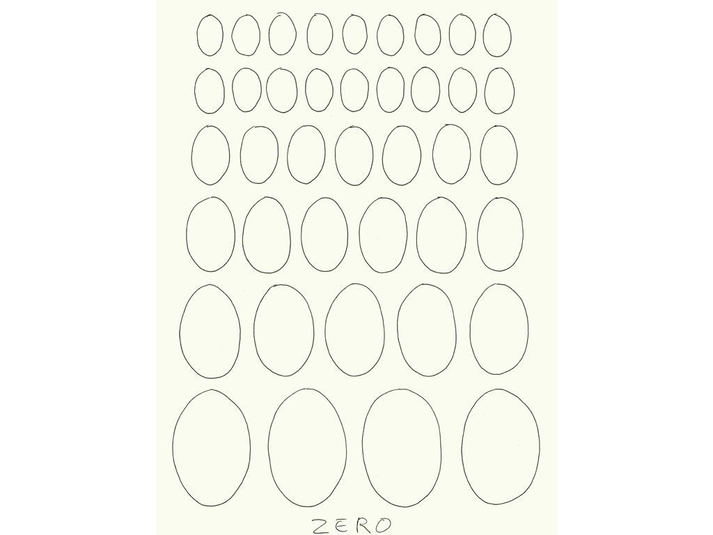 Claude Closky, 'Zero (6)', 2009, black ballpoint pen on paper, 40 x 30 cm.