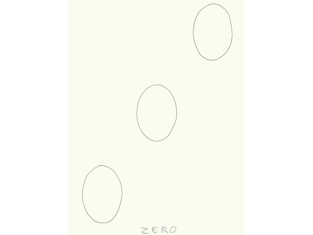 Claude Closky, 'Zero (8)', 2009, black ballpoint pen on paper, 40 x 30 cm.