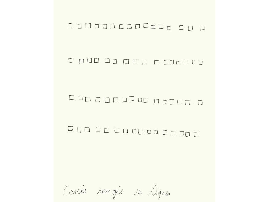 Claude Closky, 'Carrés rangés en lignes [ligned up squares]', 1990, ballpoint pen on paper, 30 x 24 cm.
